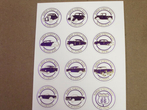 HAWAII STREET RODS PURPLE//WHITE POGS CARDED 1x12 SHEET 32,34 FORD,CHEVY MUSTANG