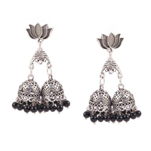 Oxydé plaqué argent Lotus design 3 en 1 noir /& blanc jhumka JHUMKI Boucles d/'oreilles