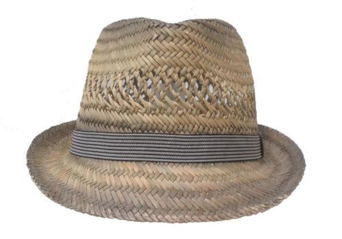 Uomo Cappello in paglia erntehut Festa Giardino Trilby ESTATE PROTEZIONE SOLARE