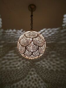 Moroccan Lamp Pendant Light Brass Closed Bottom Antique