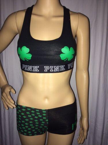 VICTORIAS SECRET PINK YOGA BRA /& PANTY SET XS IRISH ST PATRICKS DAY SHAMROCK #V5