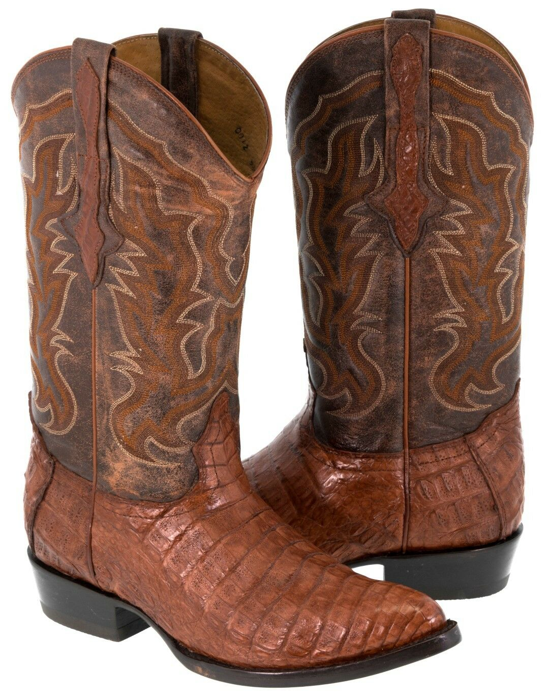 Uomo Cognac Genuine Crocodile Belly Exotic Skin Pelle Cowboy Stivali Pointed Toe