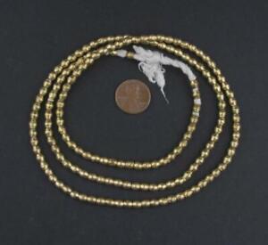 Ethiopian-Brass-Bicone-Beads-5x5mm-African-Large-Hole-27-30-Inch-Strand-Handmade