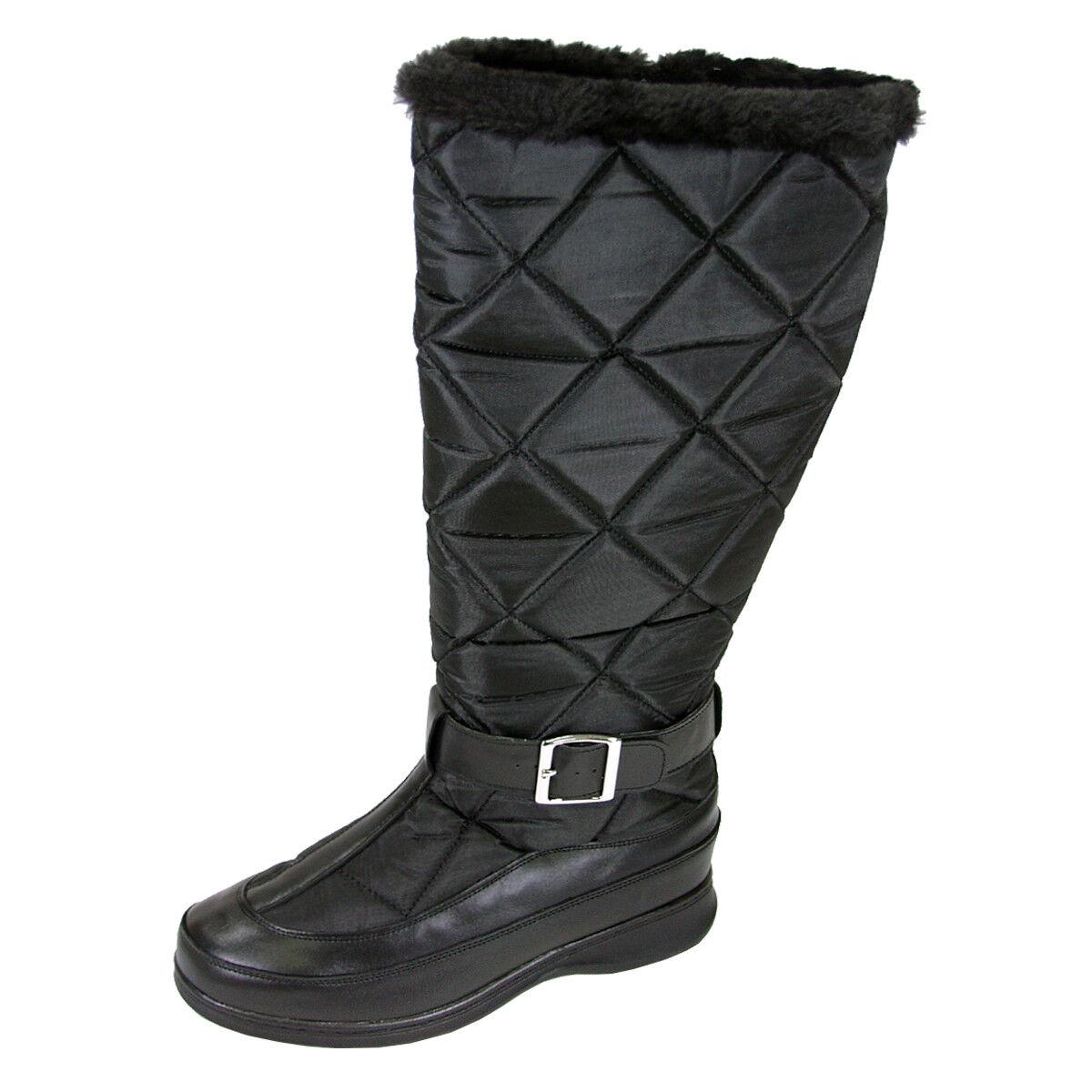 FIC PEERAGE Tammy Women Wide Width Leather/Nylon Inner Fleece High Boot
