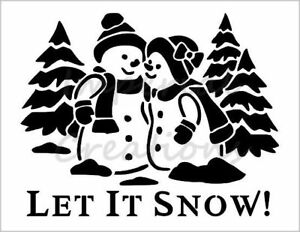 """SNOWMEN COUPLE"" Let It Snow Christmas 8.5"" x 11"" Stencil Plastic Sheet NEW S206"