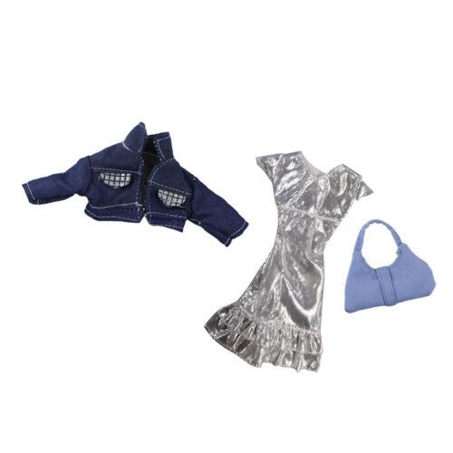 3pcs//Set Fashion Doll Party Clothes Dress+Jacket+Handbag for 1//6 Dolls