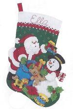 "Bucilla 18"" Christmas Felt Stocking Kit ""Santa & Snowman"" Train, Drum, Rocking h"