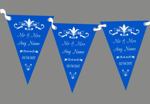Regal Or Cobalt Blue Personalised Wedding Anniversary Party Bunting