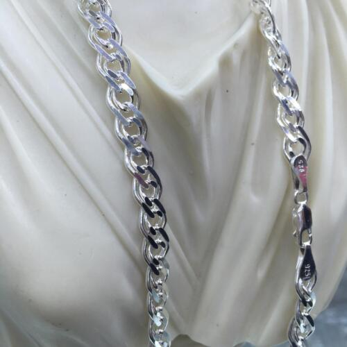 8mm Mens Nonna Fancy Chain Link Necklace Hallow 925 Sterling Silver 29GR 20Inch