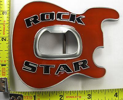 ROCK STAR METAL BELT BUCKLE BOTTLE OPENER WHITE GUITAR NEW B408