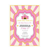 Pink Circus Personalized Birthday Party Invitations - Set Of 16