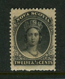 Nova Scotia #13, 1860-1863 12½c Queen Victoria, Unused Lightly Hinged
