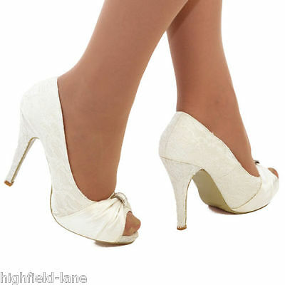 Ladies Ivory Satin Lace High Heel Wedding Bridal Evening Peep Toe Shoes Size 3-8