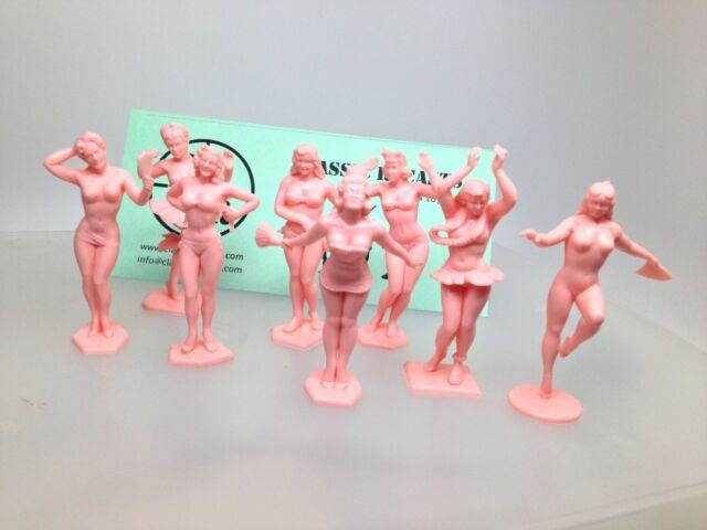 Marx Set of 8 Pink Bathing Beauties Beauty Burlesque Figures. American Beauties