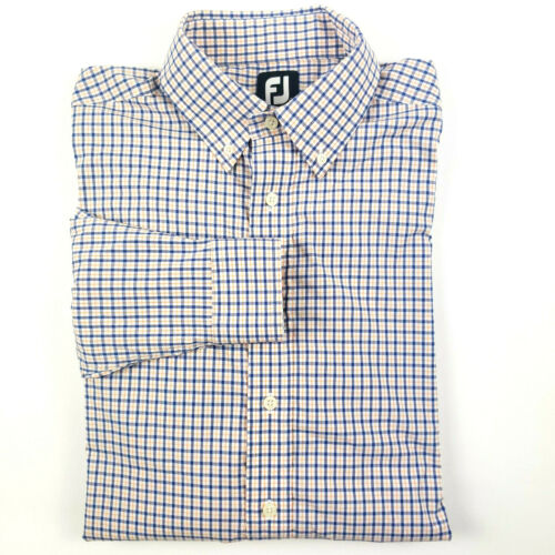 Footjoy FJ Blue Orange Plain Button Down Shirt La