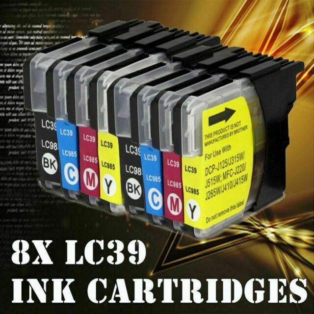 Ink Cartridge LC39 LC985 for Brother Printer MFC J410 J415W J220 DCP J125 8x