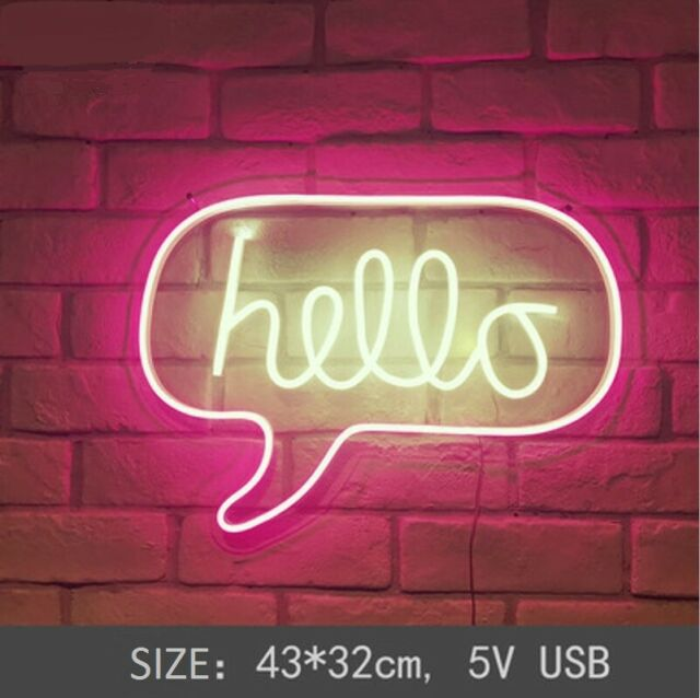 Neon Sign Hello Neon Letter Home Room Wall Hangings Decor ...