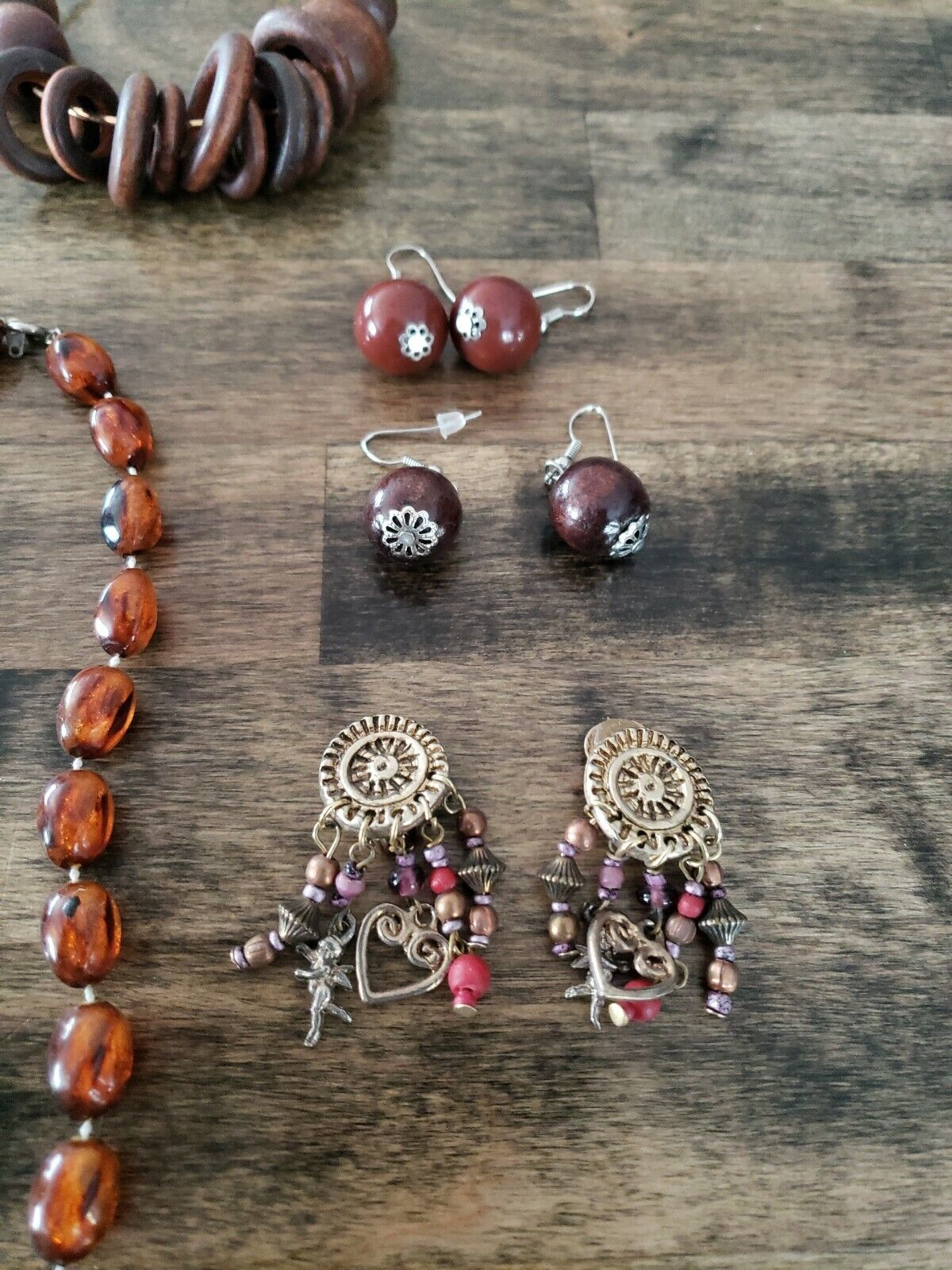Costume Jewelry Lot Brown Necklace Bracelet Earin… - image 7