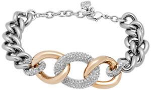 Swarovski-Reliee-Pave-Cristal-Chaine-Acier-Inoxydable-Bracelet-Pour-Femme