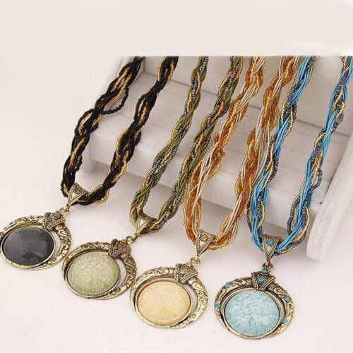 Retro Bohemia Style Multilayer Beads Chain Crystal Grain Pendant Necklace