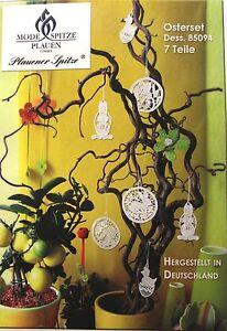 Plauener-Spitze-7-teil-Set-Baum-Behang-Ostern-Fruehling-Dekoration-weiss-Neu