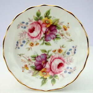Vintage-Fenton-Bone-China-Floral-Sprays-Trinket-Dish-Plate-Pin-Tray