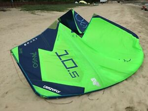 Used 2018 CrazyFly Tango 10.5M Green Kite Kitesurfing With Sick bar Kiteboarding