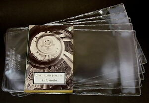 5X-PROTECTIVE-ADJUSTABLE-PAPERBACK-BOOKS-COVERS-clear-plastic-SIZE-196MM