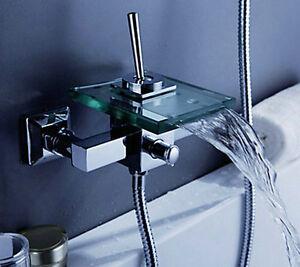 Robinet-mitigeur-mural-chrome-avec-baignoire-cascade-et-robinet-de-douche