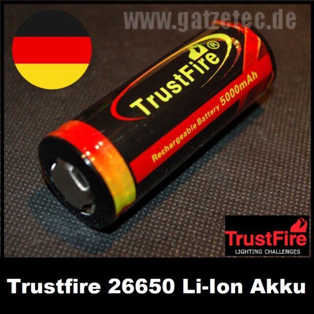 Trustfire 26650 Li-Ion Akkus mit 5000 mAh und PCB Schutz Neu