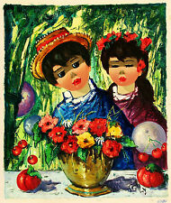 STOLLY Signed Vintage c1950s-60s Original Euro Oil Painting CHILDREN & FLOWERS