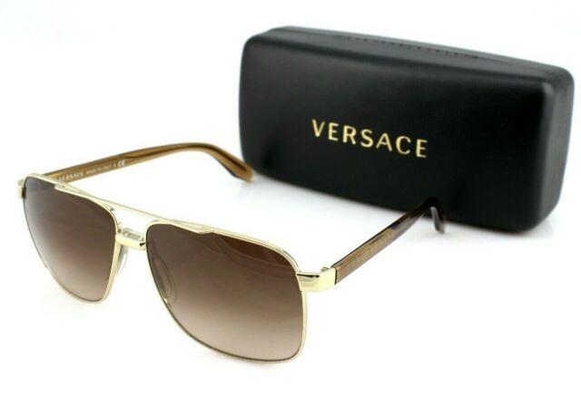 Square Gold Brown Sunglasses Rare 125213 Ve Genuine 2174 New Versace 1cFJlK