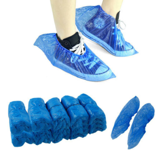 100Pcs Disposable Plastic Anti Slip Shoe Covers Cleaning Overshoes Protective La