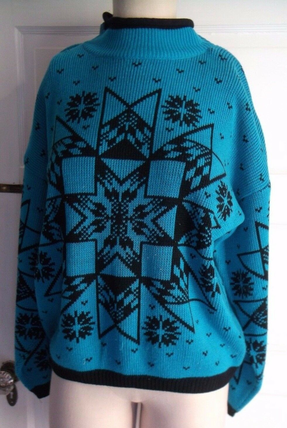 Womens Vintage In The Park Nordic Fair Isle Turquoise Snowflake Sweater M Korea