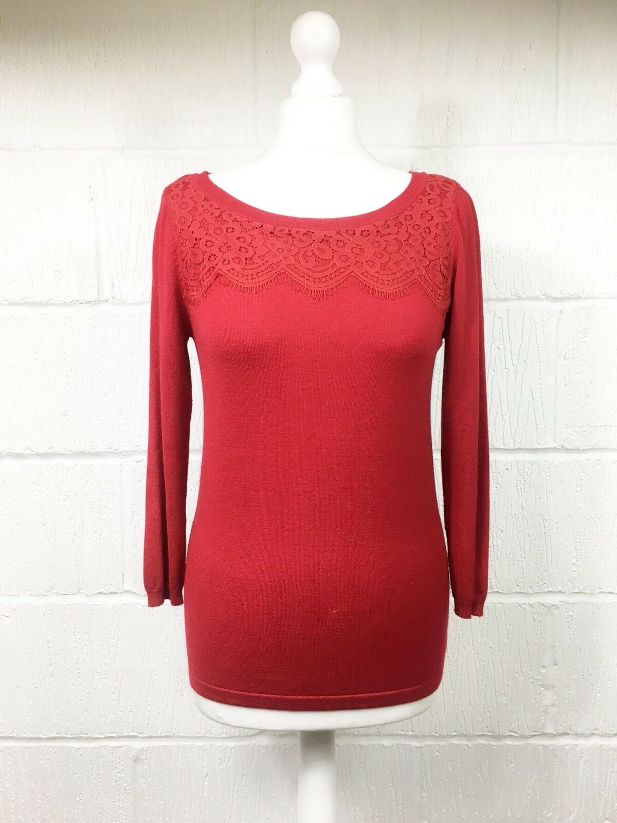 M&s Top Collection Rouge lacy Top M&s Pull Dentelle Skinny Tricot UK8 Marks & Spencer (Bh) 5d2a06
