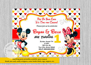 Image Is Loading Printed Twins Mickey Minnie Birthday Invitations
