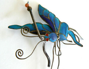 Large-Qing-Dynasty-Kingfisher-feather-Hair-Pin-Antique-VINTAGE-Chinese-19th