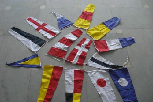 100/% COTTON String of 14 flags Bunting 12 Feet MARITIME Signal Code FLAG