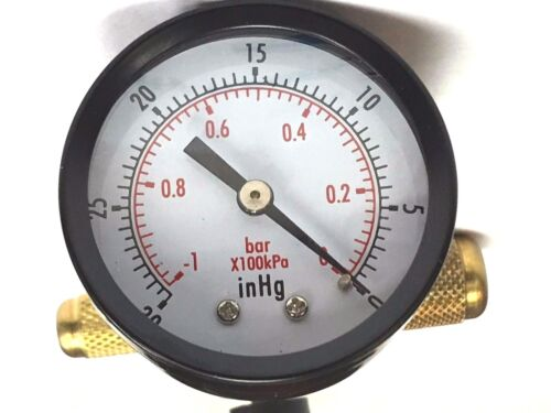 "Vacuum Pump EVACUATION Manifold 3//8FMS X 1//4MF X 3//8MF X  1//2/""ACME R134A Gauge"