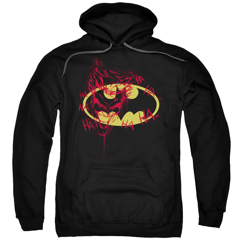 Batman Shield with JOKER GRAFFITI HA HA HA Licensed Sweatshirt Hoodie