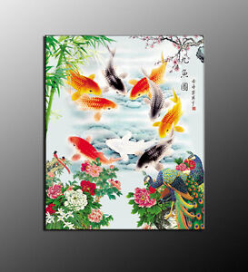 Art-Canvas-wall-decor-HD-print-oil-painting-Feng-Shui-Fish-Koi-Painting-NXT116