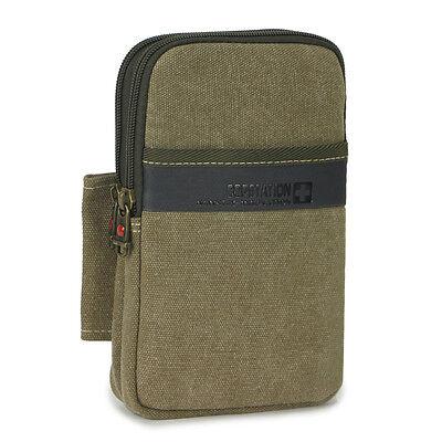 "Running canvas military travel fanny pack Waist bag 6.3"" phone Camera Case Men"