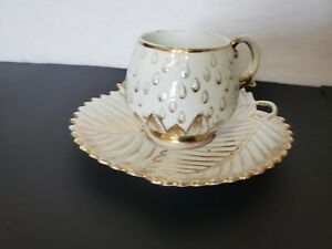 Antique White Gold Leaf Demitasse Tea Cup & Saucer Manufactured in Germany