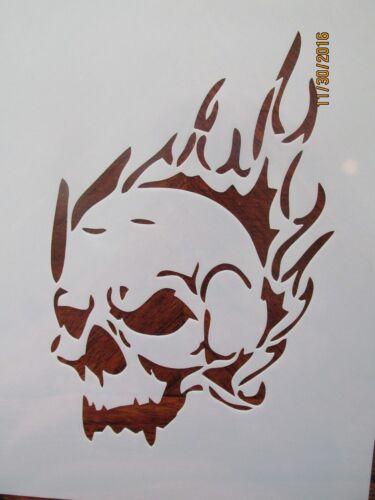 Flaming Skull Cracked Skull Stencil Pack Reusable 10 mil Mylar Stencils