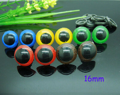 50pcs 16mm Mix Color Plastic Safety Eyes For Teddy Bear Doll Animal Puppet Craft
