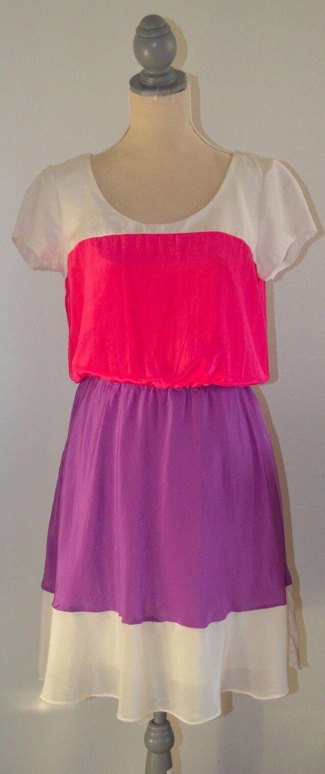 Julie Dillon Mangas Cortas Vestido de seda de Color bloque