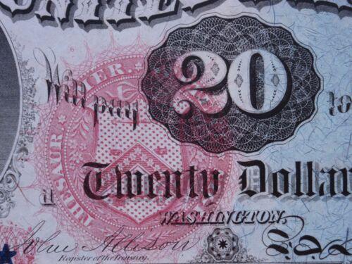 1869 $20 HAMILTON STAR NOTE RAINBOW TREASURY NOTE LIMITED EDITION ART CANVAS