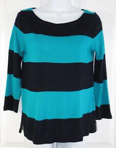 65f92ad8c8348 J Crew Rubgy Stripe Knit Top Size XS Womens Boatneck Navy Blue ...