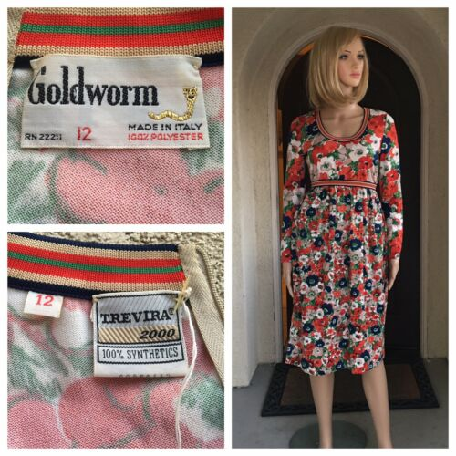 NWT Vintage goldworm 70s Floral Printed Dress Size