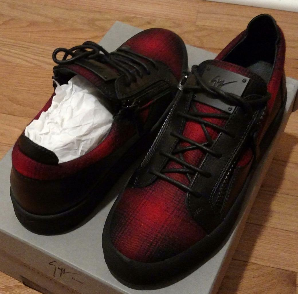 665 Mens Giuseppe Zanotti Plaid Double-Zip Low-Top Sneakers Red/Black 45 US 12